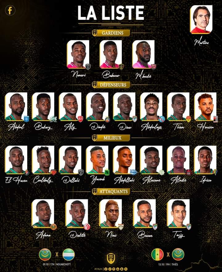تشكيلة المنتخب الوطني التي ستواجه السيراليون والسنغال) FFRIM(